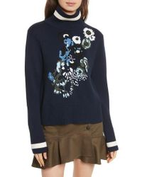 Veronica Beard - Pia Floral Turtleneck Sweater - Lyst