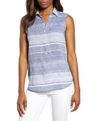 2a61a1496a Lyst - Beach Lunch Lounge Kelli Stripe Tie Front Linen & Cotton Blouse