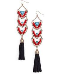 Adia Kibur - Stone & Tassel Drop Earrings - Lyst