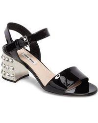 Miu Miu - Crystal Embellished Block Heel Sandal - Lyst