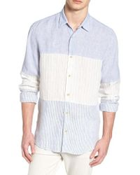 French Connection - Relaxed Fit Stripe Linen & Cotton Sport Shirt - Lyst