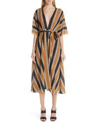 Fuzzi - Stripe Belted Dress - Lyst