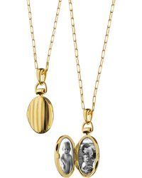 Monica Rich Kosann - Pinstripe Locket Necklace - Lyst