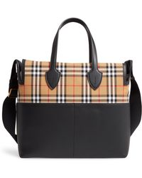 caacba0f40a2 Burberry - Kingswood Vintage Check   Leather Diaper Tote - - Lyst