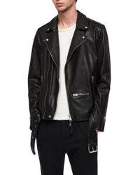 AllSaints - Wick Slim Fit Leather Biker Jacket - Lyst