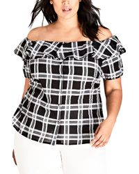 City Chic - Check Me Out Top - Lyst