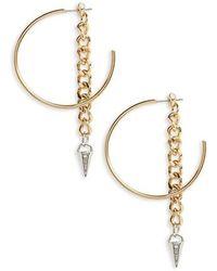 Cara - Hoop With Chain & Spear Drop Earrings - Lyst