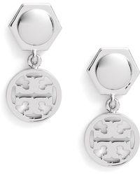 Tory Burch - Logo Circle Drop Earrings - Lyst