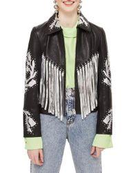 TOPSHOP - Austin Floral Silver Fringed Leather Jacket - Lyst