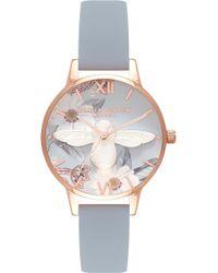 Olivia Burton - Bejewelled Florals Leather Strap Watch - Lyst