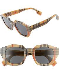 c2712b7fd2a Burberry - 46mm Geometric Sunglasses - Tan Check - Lyst