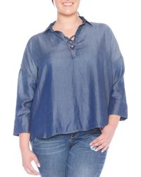 9386a55bb26c1b Slink Jeans Oversized V-neck Top (plus Size) in Blue - Lyst