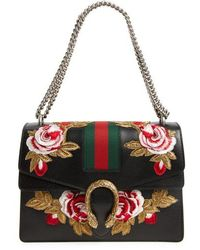 Gucci - Medium Dionysus Embroidered Roses Leather Shoulder Bag - None - Lyst