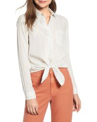 0907988564 Lyst - Madewell Tie Front Stripe Shirt in Blue