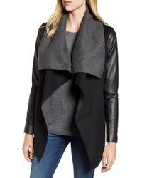 Mackage - Vane Asymmetrical Leather Sleeve Coat - Lyst