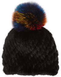 Jocelyn - The Supermoon Genuine Mink Fur Hat With Genuine Fox Fur Pom - Lyst