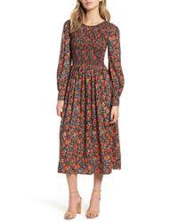 Hinge - Print Smocked Bodice Dress - Lyst