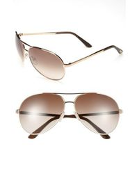 Tom Ford - 'charles' 62mm Aviator Sunglasses - Shiny Rose Gold/ Brown - Lyst