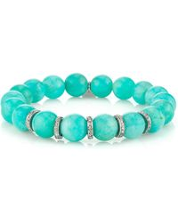 Sheryl Lowe - Amazonite & Pavé Diamond Bracelet - Lyst