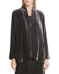 Eileen Fisher - Angled Front Velvet Jacket - Lyst