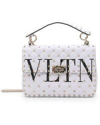 Valentino - Vltn Logo Candystud Lambskin Top Handle Satchel - - Lyst