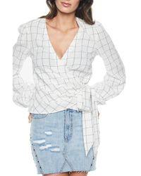 Bardot - Fine Check Wrap Top - Lyst