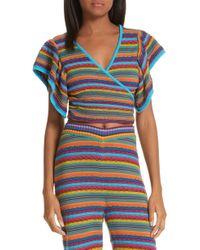 All Things Mochi - Lana Stripe Wrap Top - Lyst