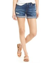 7 For All Mankind - 7 For All Mankind Roll Cuff Denim Shorts - Lyst