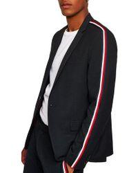TOPMAN - Skinny Fit Textured Stripe Trim Suit Jacket - Lyst