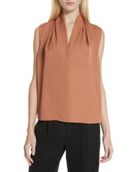 2898b7e90a5ceb Lyst - Vince Band Collar Silk Blouse in Natural