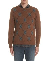 Eleventy - Argyle Cashmere Crewneck Sweater - Lyst