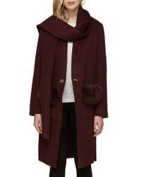 SOIA & KYO - Wool Blend Genuine Fox Fur Trim Coat - Lyst