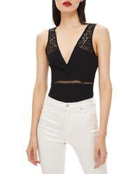 TOPSHOP - Lace Plunge Bodysuit - Lyst