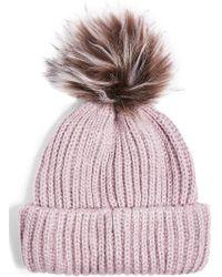 f1451986345 TOPSHOP - Faux Fur Pompom Beanie - Purple - Lyst