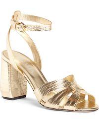 Prada - Lizard Embossed Ankle Strap Sandal - Lyst