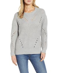 Vince Camuto - Rib Pointelle Detail Cotton Blend Sweater - Lyst