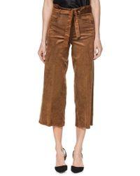 PAIGE - Sutton Paperbag Crop Wide Leg Corduroy Pants - Lyst