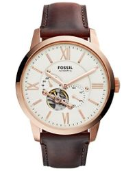 Fossil - 'townsman' Automatic Leather Strap Watch - Lyst