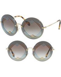 Miu Miu - 62mm Layered Heart Round Sunglasses - Lite Blue Gradient - Lyst