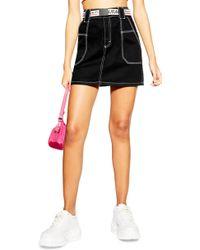TOPSHOP - Contrast Stitch Utility Skirt - Lyst