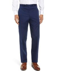 John W. Nordstrom - John W. Nordstrom Torino Traditional Fit Flat Front Solid Stretch Cotton Trousers - Lyst