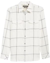 French Connection - Regular Fit Windowpane Flannel Sport Shirt - Lyst
