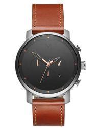 MVMT - Chronograph Leather Strap Watch - Lyst