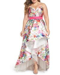 Mac Duggal - Floral Strapless Sweetheart High/low Gown - Lyst