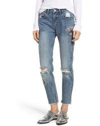 RVCA - Kewl Kid Patched Slim Boyfriend Jeans - Lyst