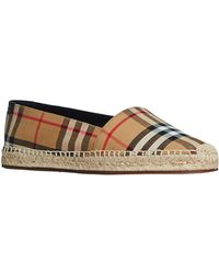 Lyst - Burberry Hodgeson Check Canvas   Suede Espadrille Flats in Blue b0138adf92c
