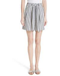St. John - Stripe Twill Linen Blend Shorts - Lyst