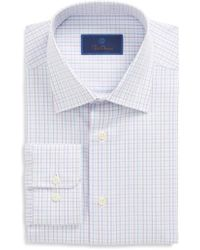 David Donahue - Regular Fit Plaid Dress Shirt - Lyst