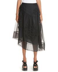 Simone Rocha - Black Ruched Tulle Skirt - Lyst