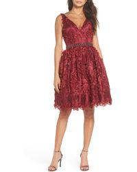 Mac Duggal - Floral Applique Fit & Flare Dress - Lyst